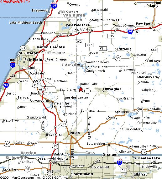 Indian Lake Michigan - Map of southwest michigan